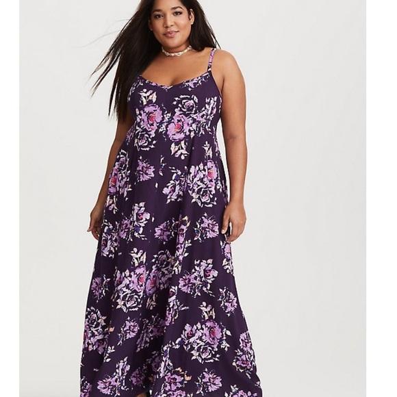 2f7101b5de1 torrid Dresses   Nwt Purple Floral Challis Maxi Dress Size 1   Poshmark